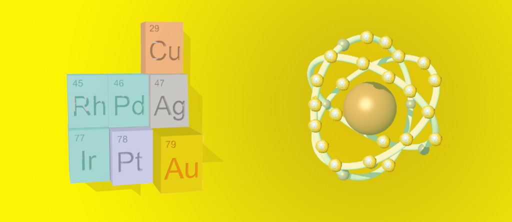 Gold-Atom-Periodic-table-elements-silver-platinum-rhodium-palladium-iridium